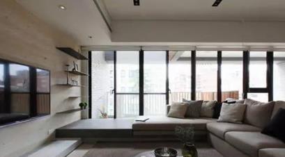 选材 文章    小清新隔断   阳台与客厅的入口设计成地中海式的拱门