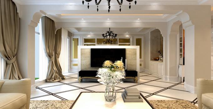 更好利用空间 餐厅与客厅隔断电视墙设计图片
