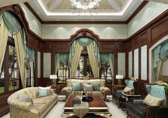 欧式客厅窗帘图片 最新客厅窗帘效果图
