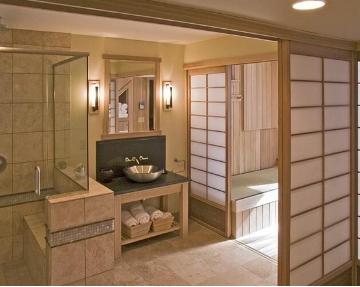 华丽做噱头的欧式风格卫生间隔断设计,搭配了金色瓷砖,古铜模样的镜子