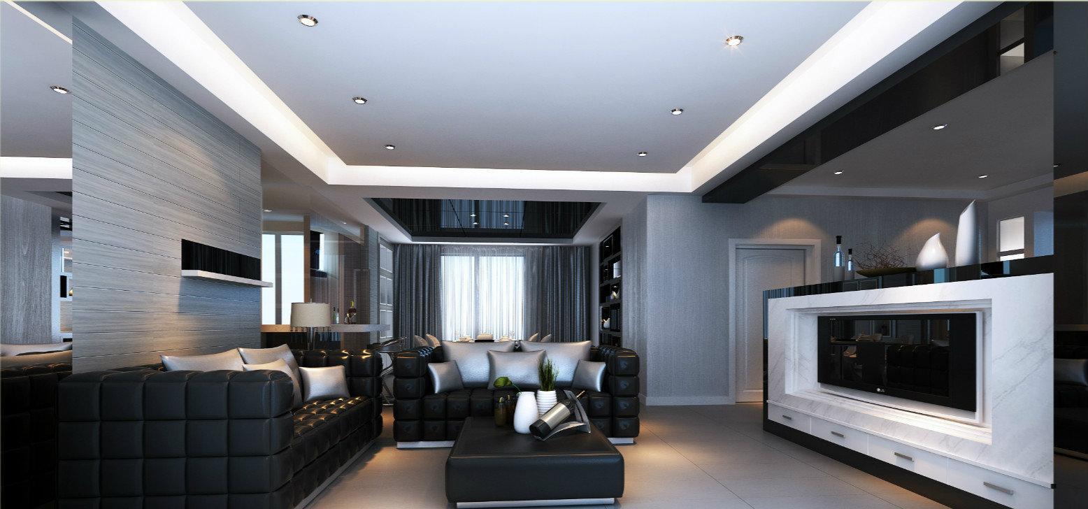 现代风格两房两厅客厅装修效果图2014图片