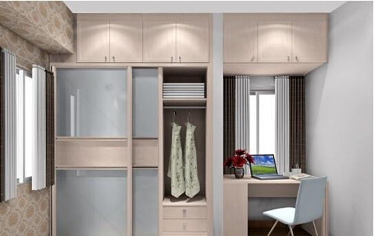卧室衣柜装修效果图:北欧阳光   造型立体感强:采用白樱桃波浪板