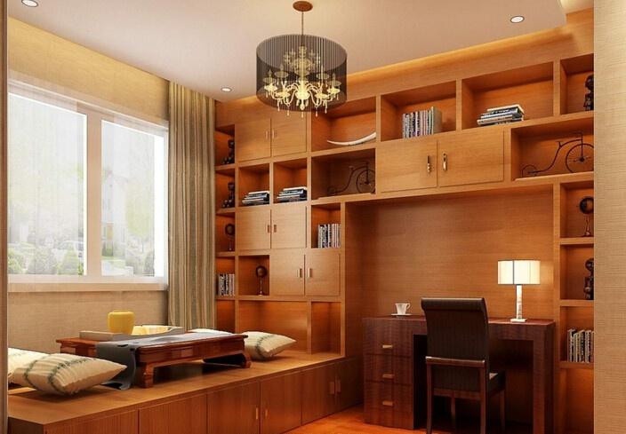 在这张榻榻米书房效果图中,榻榻米和书桌是分开的,书桌单独在一旁