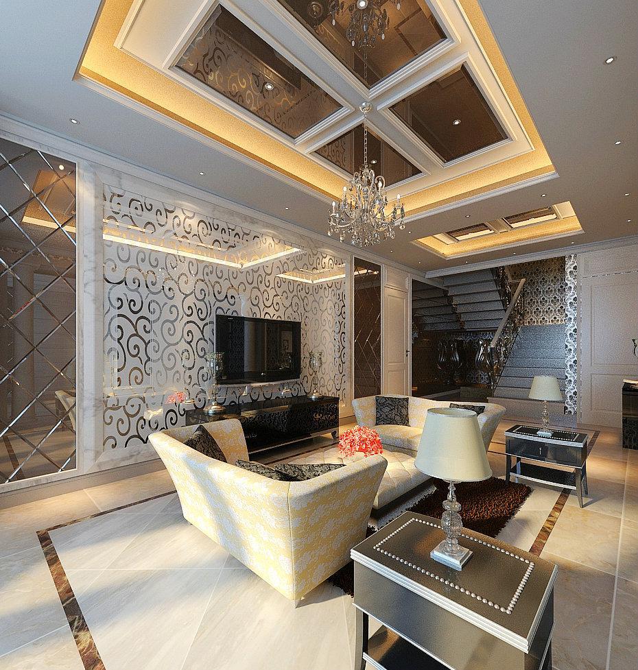 128平米跃层现代欧式客厅电视背景墙装修效果图