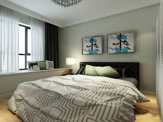 主臥室用米綠色的墻布做墻面裝飾,整個臥室做了一個大的飄窗.