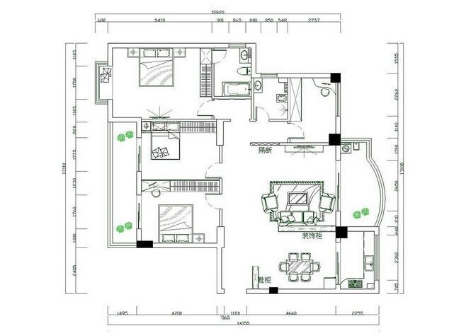 农村房屋设计模型分析 室内设计平面图