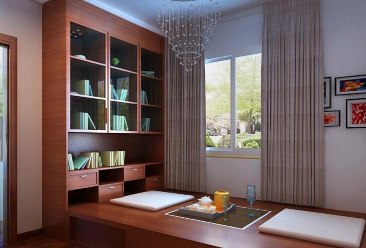 这样的榻榻米书房效果图可以看出,整个书柜与榻榻米相连,书桌上设置