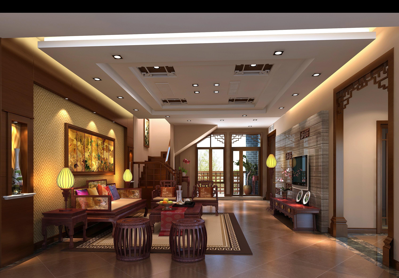 297平现代中式别墅客厅装修效果图