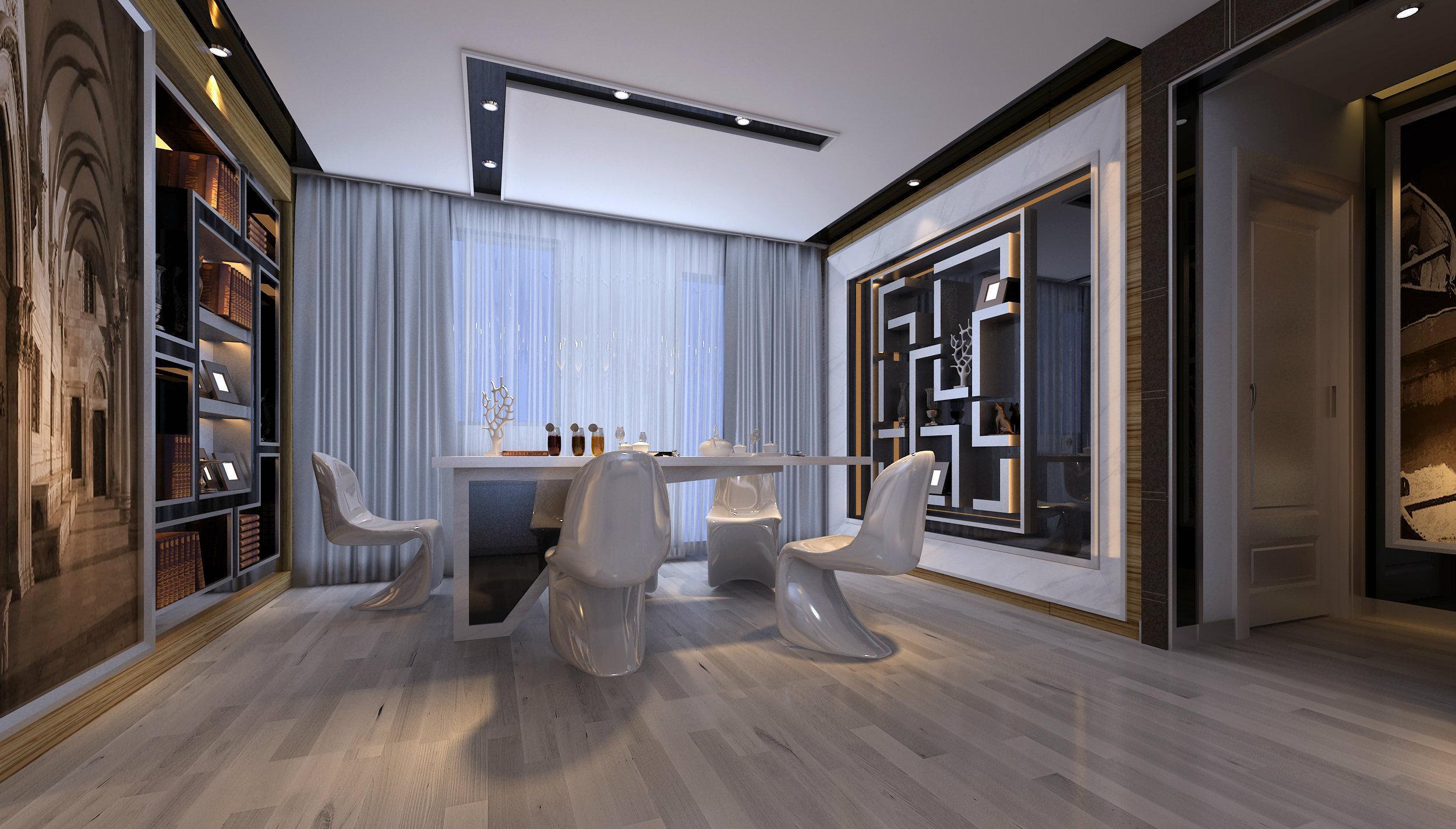黑白灰现代时尚三居室餐厅装修效果图
