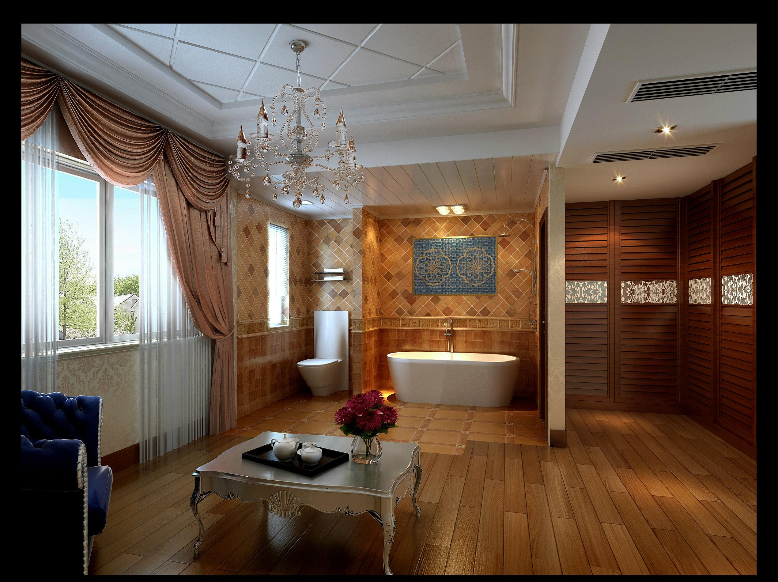 156平现代欧式别墅客厅装修效果图