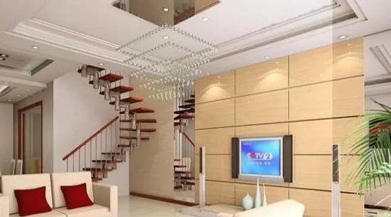 复式楼客厅装修效果图欣赏   楼房客厅吊顶效果图   很清新的一款客厅