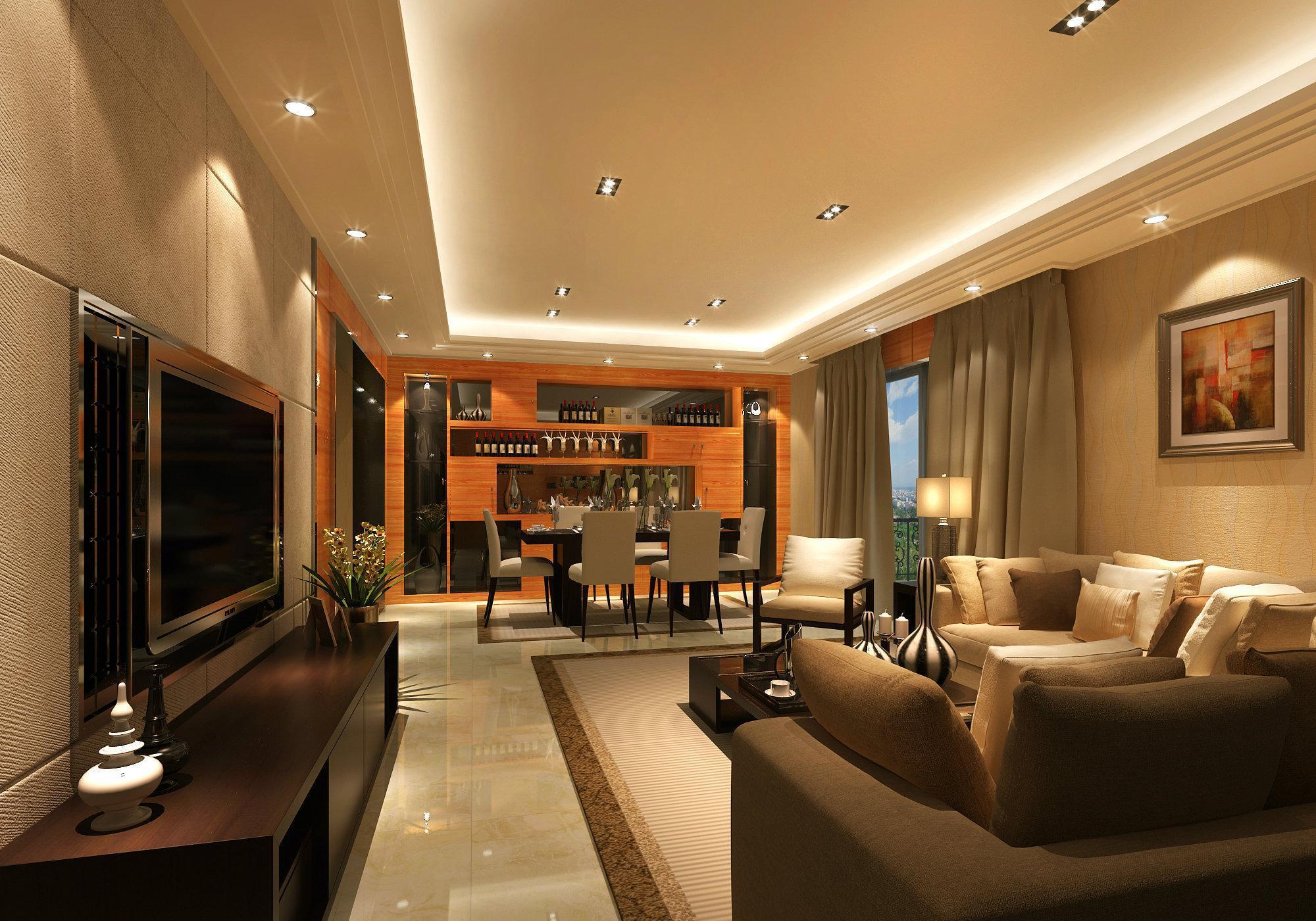126平现代港式风格公寓客厅装修效果图
