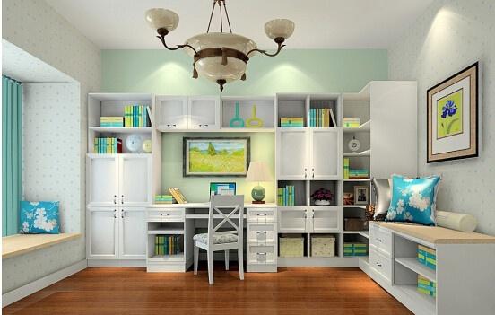 在书房的装修设计中一个合适的书柜能够让书房增添光彩,那么转角书柜