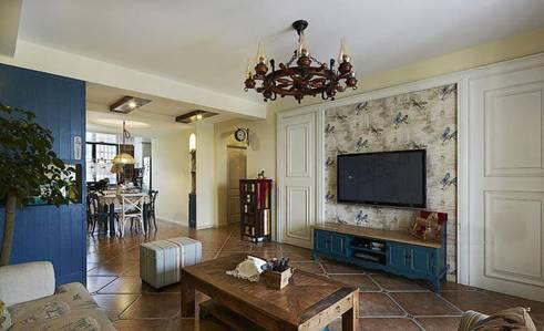 风格客厅效果图中,隐形门背景墙自然也被装饰成欧式居室的电视背景墙