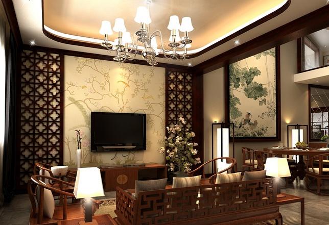 新中式客厅壁画,复古风格效果_装修资讯_搜狐焦点家居
