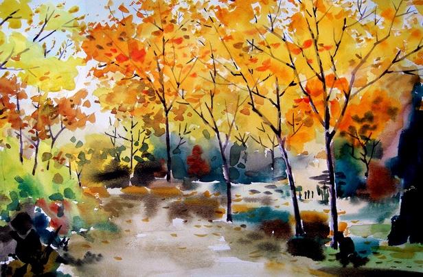 风景水彩画图片大全 水彩画作品欣赏