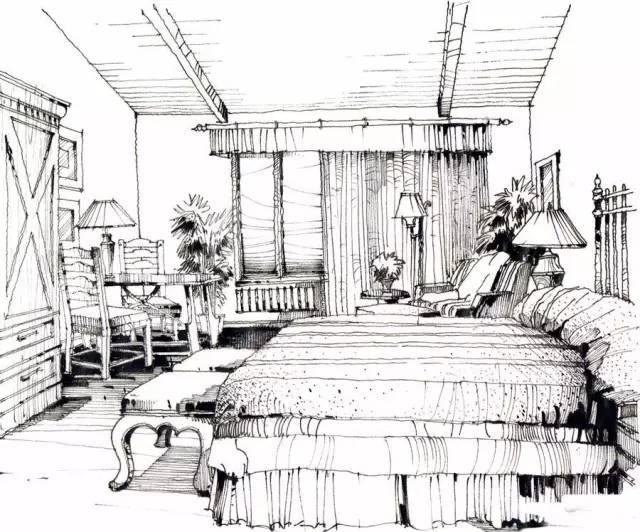 手绘一点透视房间